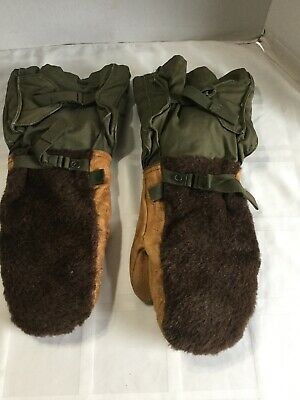 Vintage Military Mittens Gloves Set Extreme Cold Weather Leather Wool Large-xl Extreme Cold Weather Gloves
