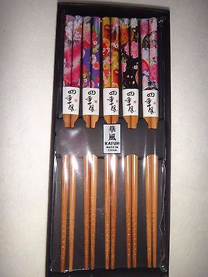 KAFUH~5 Pairs Set ASIAN Natural Wood Color Wooden Floral Chopsticks & Gift Box