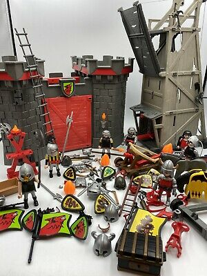 PLAYMOBIL Medieval Wolf Knights Castle & Siege Tower 3887 Bundle & Figures