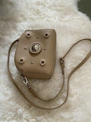 Versace Jeans Beige And Gold Camera Cross Body Bag With Marks