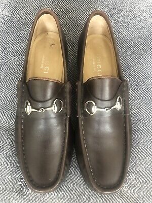 Vintage Genuine Gucci Tan-Brown Loafers Silver Horsebit UK 5 38 Women Leather