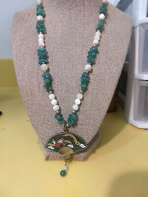Vtg Aventurine Nugget+Mother Of Pearl Beaded Necklace Cloisonne