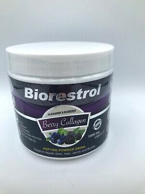 Biorestrol Berry Collagen Peptide Powder Drink 1000 mg w/ Vitamin C Colageno