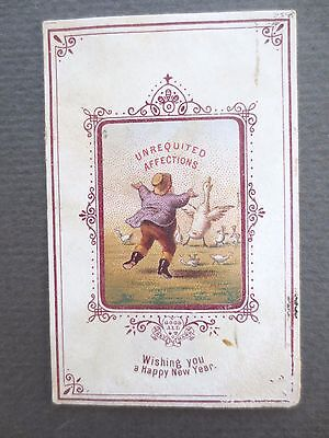 ANTIQUE NEW YEAR Greetings Card Goodall Unrequited Affections Man Geese CHROMO
