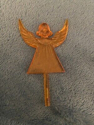 LARGE ORANGE ANGEL TOPPER Ceramic Christmas Tree Lights RARE VINTAGE
