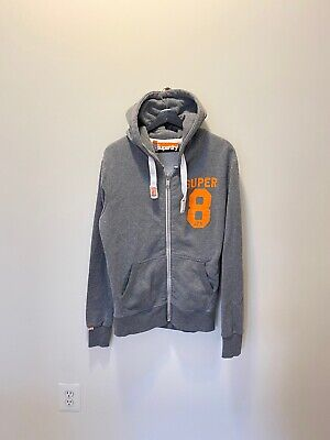Superdry Hoodie ZIP Front Gray Orange Sweatshirt Men's Size Medium