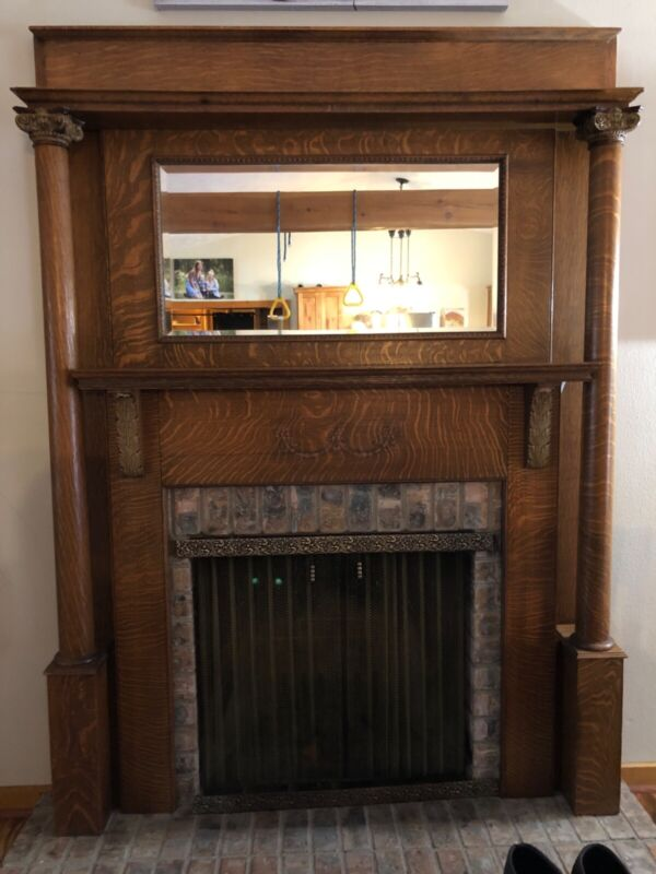 antique fireplace mantel wood good condition