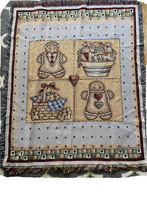 """Holiday Gingerbread Men Tapestry Throw Blanket Woven Cotton Heart Country 45""""x55"""