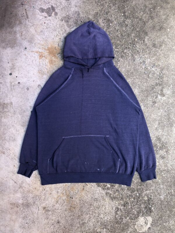 Vintage 1980s Sun Faded Navy Blank Raglan Paint Hoodie Sweatshirt