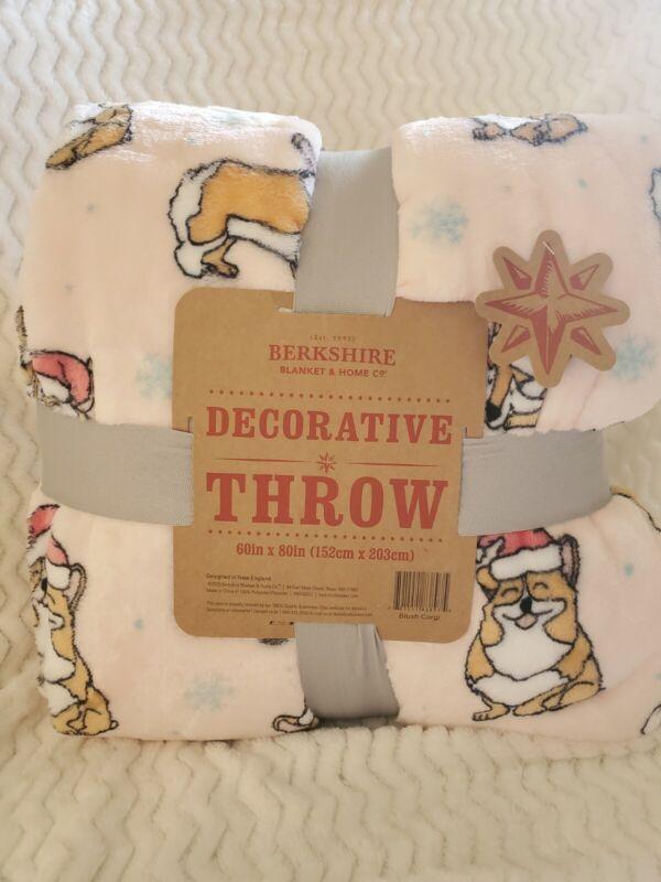 "Berkshire Decorative Blush Corgi Dog Holiday Christmas Throw Blanket  60"" x 80"""