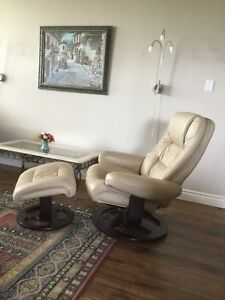 Genuine leather recliner with ottoman