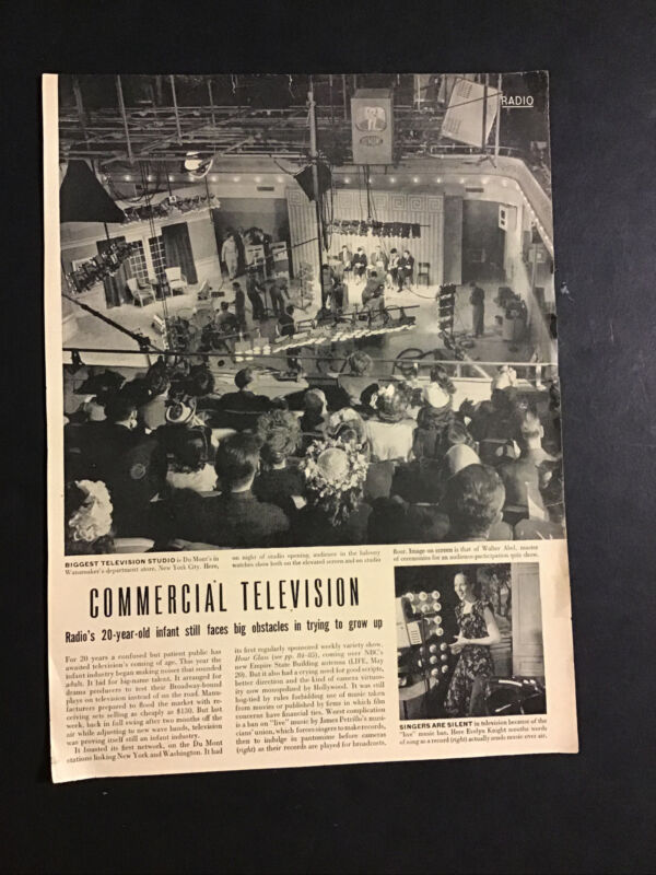 ORIGINAL 1946 TELEVISION IN ITS INFANCY ARTICLE