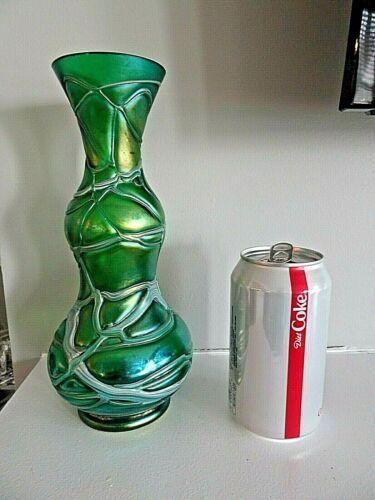 "Antique PALLME KONIG Glass Iridescent THREADED Veined Bulbous VASE 9.5"" Tall"
