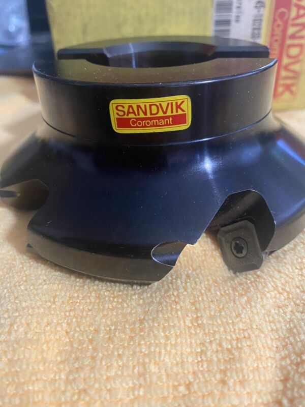 """Sandvik 4"""" Indexable Facemill  R245-102T38-12L With Inserts Shims NEW See pics"""