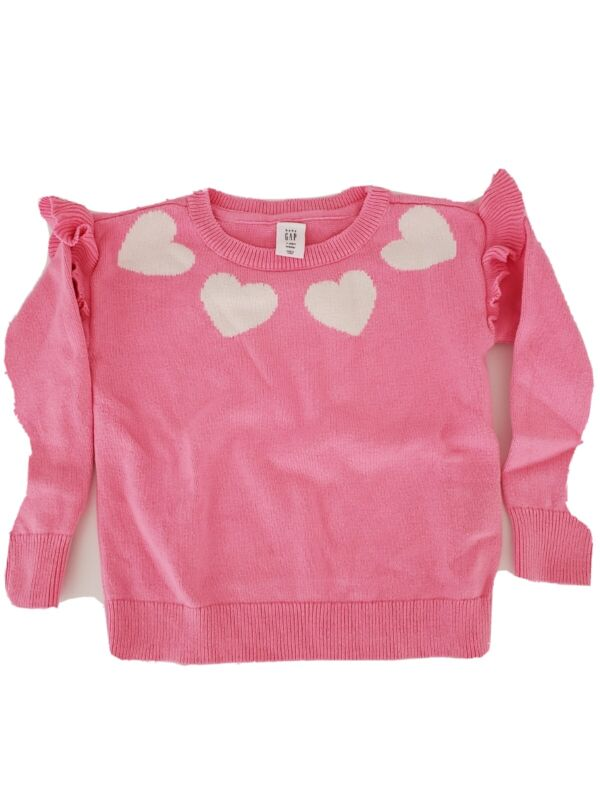 Baby Gap 3T Toddler Girl Bubble Gum Pink Sweater w/white hearts