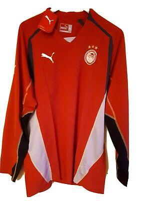 PUMA OLYMPIACOS CLUB TRAINING TEE SHIRT SIZE 2XL MENS LONG SLEEVES V-NECK RED