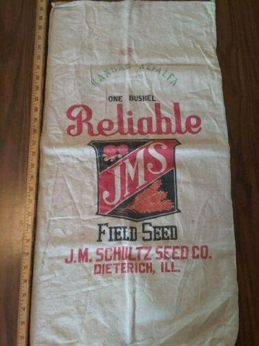 J.M.S. antique feed bag sack. Dieterich,Il.