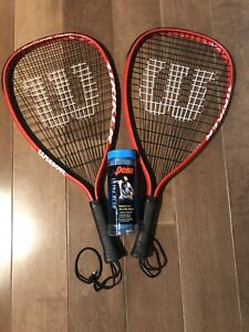 Racquetball racquets and balls