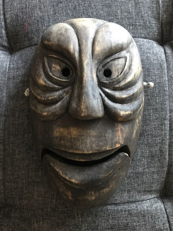 "Mah Meri Malaysian Spiritual Dance Mask Handcarved Wood 9"" Good Condition"