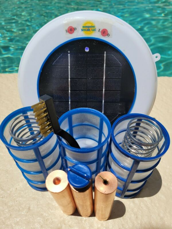 Solar Pool Ionizer- 7 Volts LED UPGRADE 3 450g Anodes - 3 Baskets- Two Springs
