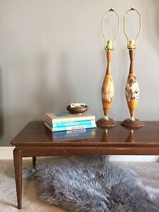 A Pair of Mid Century Ceramic Drip Glaze Table Lamps