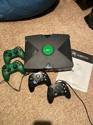 Xbox original console bundle with wired and wireless controllers and 13 games