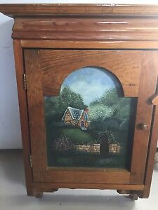 Wall hanging wood cabinet