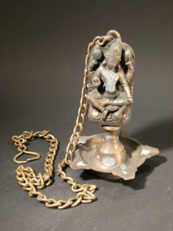 Bronze Hanging Lamp- Vishnu Enthroned