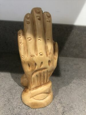 Vintage Live Wood Grade A Carved Praying Hands Made In Jerusalem 15 Cm