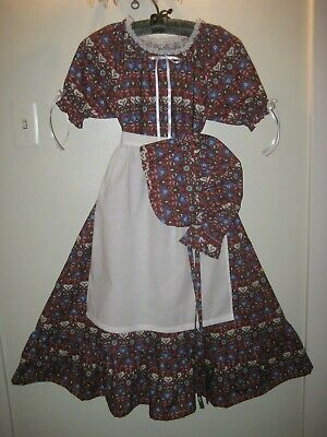 Girl 6 - 8 Pioneer Colonial Prairie Frontier Country Dress Bonnet & Apron Hearts - Girls Pioneer Costume