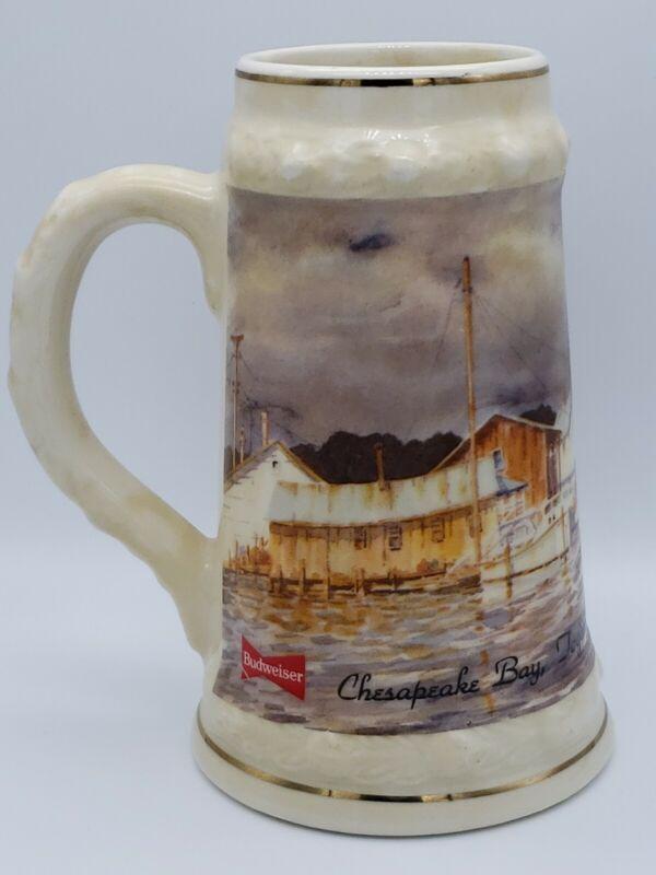 "1991 Budweiser Beer Stein Chesapeake Bay Martha Hudson Serialized 7"" Ceramic VTG"