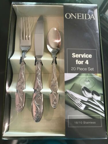 Oneida Manderly Fine Stainless Flatware 20 pc Service for Four with Box