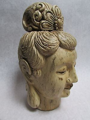 """Quan Yin Carved Wood Alter Head 11"""" with Cream Finish From Bali Artisan"""