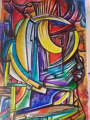 HAITIAN  Art 32x19  Abstract PAINTING by Guesilhom Jean Baptiste for sale  Shipping to Canada