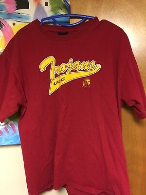 USC TROJANS T-shirt Large Red Gold Script Southern California EUC 100% Cotton