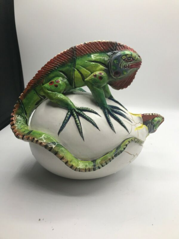 Pottery Lizard With Hatching Egg Baby Mexico Signed F. Amar