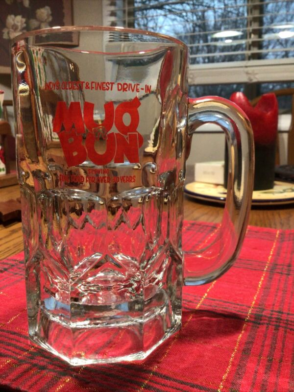 "Rare Vintage Original MugnBun Mug Sign Logo Mug Root Beer Heavy 16 Oz 6""Glass"