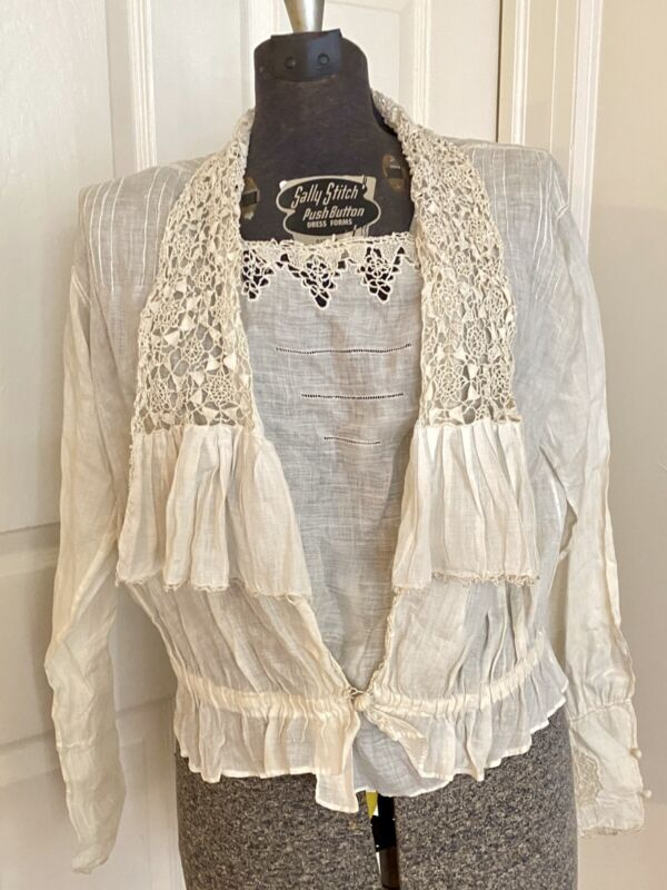 True Antique Victorian Edwardian Reticella & Drawnwork Lace Blouse Top Shirt