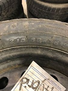 215/60/16 four used winter tires and rims