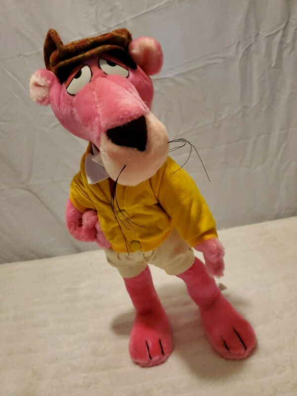 "Vintage 1980s ~ PINK PANTHER ~ Plush Le Sport (Golfer) Special Effects 16"" Tall"