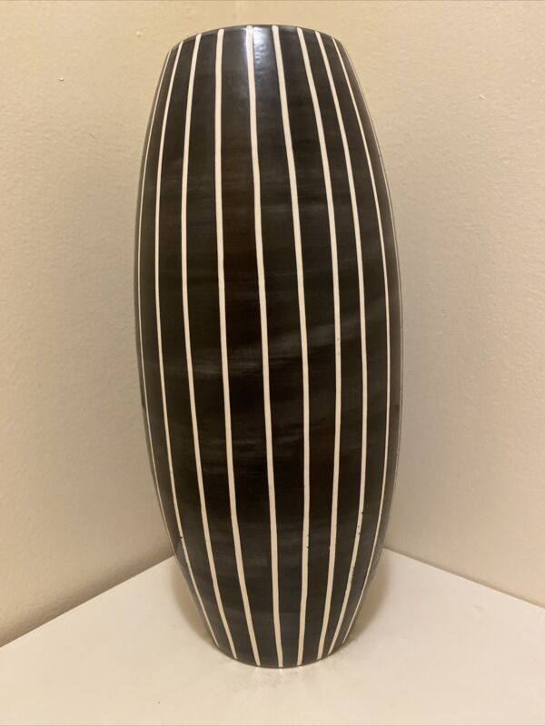 Sale! Tall  Contemporary Black Woodgrained Ceramic Vase With Carved Vertical