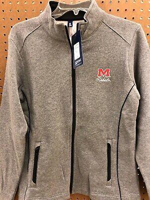 Ole Miss Rebels Gray Zip Jacket Coat Womens Medium Gear For Sports