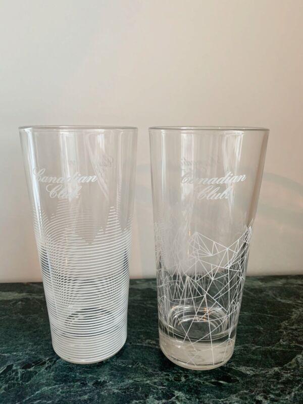 "Canadian Club Whiskey Highball Glasses Set Of 2 Geometric White Pattern 6.5"""