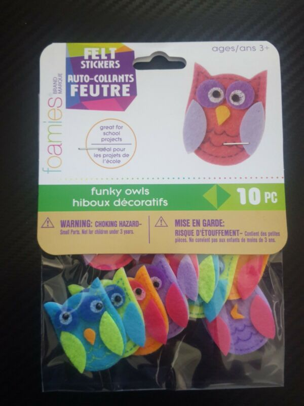 Felt Stickers FUNKY OWLS Darice 10 Pieces peel and stick stickers