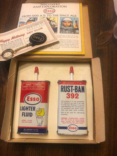 Vintage 1963 Esso Christmas Promo-Gift Pack-Key Chain-Map-Lighter Fluid-Tins-Can