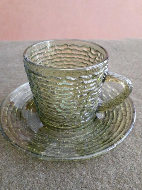 Vintage Anchor Hocking Soreno Avocado Green Glass Cup and Saucer sticker