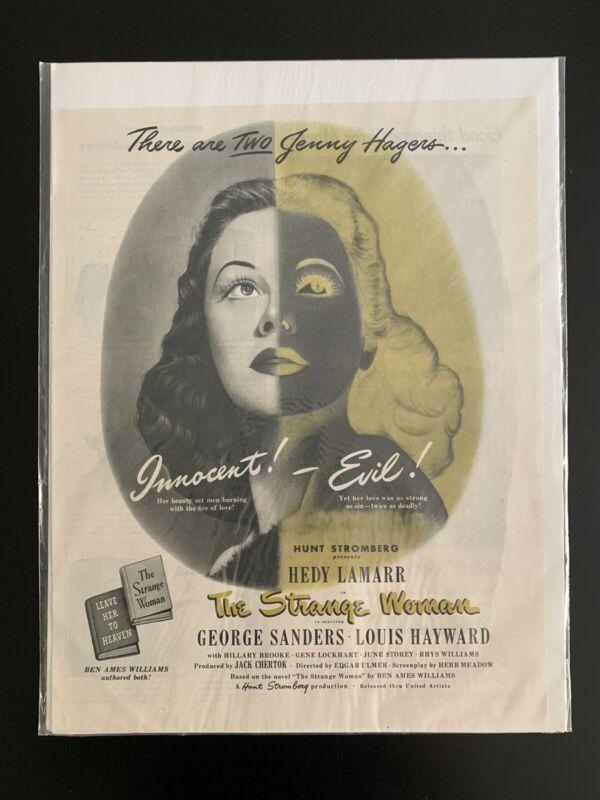 "Vintage 1946 ""The Strange Woman"" Movie Print - Hedy Lamarr"