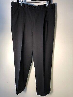 Loro Piana men's black Trousers Sz 52 tasmanian wool cuffed straight leg Bin-L