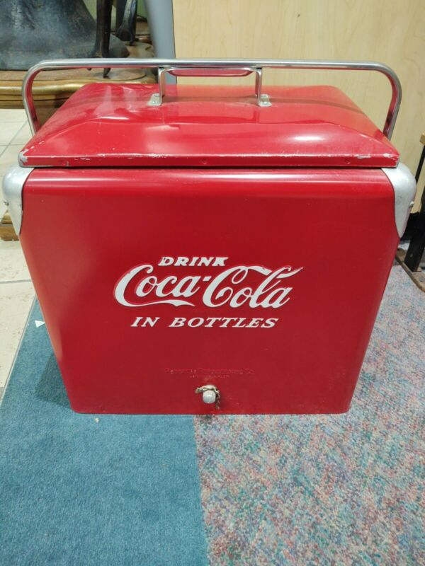 Vintage c. 1950s Drink Coca Cola In Bottles Progress Refrigerator Coke Cooler