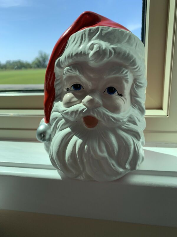 Vintage Christmas Santa Claus Ceramic Planter Head Vase Vintage Christmas Kitsch
